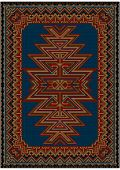 Bright oriental carpet with original pattern on a blue background