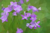 Low poly bluebells in a meadow