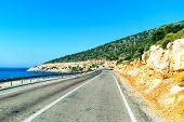 Mountain road on the sea coast in Turkey