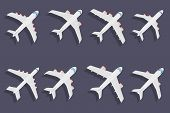 Vector set of different airplane symbols.