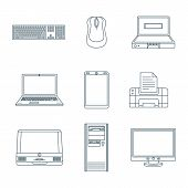 Dark Outline Computer Gadgets Icons.