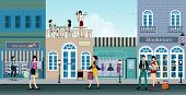 stock photo of shopping center  - The city is a shopping center where people choose to shop - JPG
