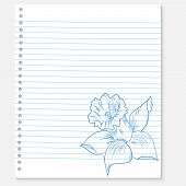 sketch of a flower on notebook sheet