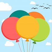 Falt Illustration Of 5 Colorful Balloons