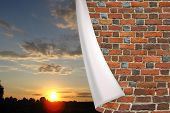 image of cuff  - red brick cuff on the beautiful panorama of sunset - JPG