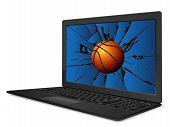 Cracked Laptop Basketball