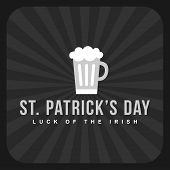 St. Patricks Day Retro Card Design. Vintage Holiday Badge Design