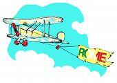vintage airplane with a banner.vector illustration