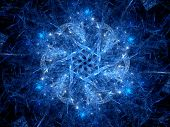 Blue Glowing Magic Snowflake