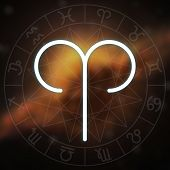 Zodiac Sign - Aries. White Thin Simple Line Astrological Symbol On Blurry Abstract Space Background