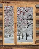 Snowy Winter Landscape In The Frame Of A Rustic Wooden Window.
