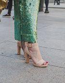 Detail Of Shoes Outside Cristiano Burani Fashion Show Building For Milan Women's Fashion Week 2015