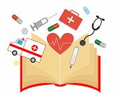 Open book about medicine with a thermometer, syringe and pills. Vector illustration