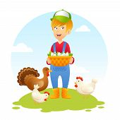 Farmer Woman With Chicken
