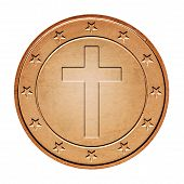 picture of iron star  - Bronze coin  with cross and stars around isolated on a white background - JPG
