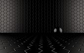 Abstract background of the Black Ball On black mesh grid.
