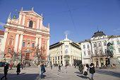 Preseren Square And Franciscan Church, Ljubljana, Slovenia
