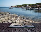 Landscape Image Of Old Mediteranean Fishing Village In Ibiza Conceptual Book Image