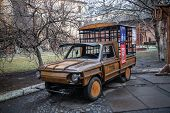 Lviv, Ukraine - February 23, 2015 Old Car Remade Of Wood Parts