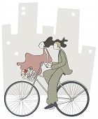 Couple Walking Bike