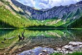 Gorgeous Sunlit Avalanche Lake With Reflection In Glacier National Park