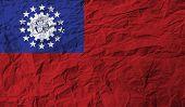 Flag Of Myanmar Burma With Old Texture. Vector