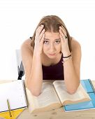 College Student Girl Studying For University Exam Worried In Stress Feeling Tired And Test Pressure