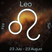 Zodiac Sign - Leo. White Line Astrological Symbol With Caption, Dates, Planet And Element