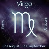 Zodiac Sign - Virgo. White Line Astrological Symbol With Caption, Dates, Planet And Element