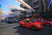 Thailand,bangkok - Feb 24 :yaowarat Road,the Main Street In Chinatown, Once Of Bangkok Landmark And