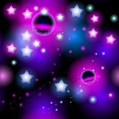 Abstract seamless pattern space with stars. Vector