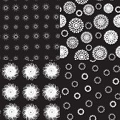 Seamless pattern polka dot texture on black background can be used for wallpaper, pattern fills, web