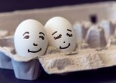 stock photo of egg whites  - Concept of a couple in love - JPG