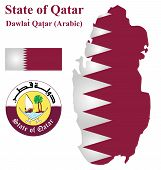 image of qatar  - Flag and national coat of arms of the Arabian State of Qatar overlaid on detailed outline map isolated on white background - JPG
