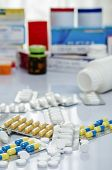 stock photo of paracetamol  - A pile of medicine or drug on the table - JPG