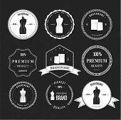 Set vintage retro mannequin shopping badges
