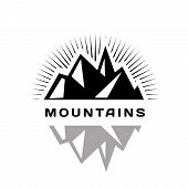 Mountains logo for a firm, company or corporation, travel agency.