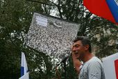 Opposition Leader Boris Nemtsov Holds An Old Photo With Thousands Of Opposition Rally And The Rally