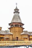 Wooden Tower In Entertainment Center Kremlin In Izmailovo, Moscow, Russia