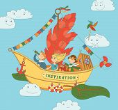 Flying Ship Inspiration With Happy Kids