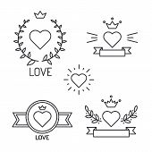 Set of lined hearts and elements in tattoo style
