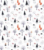 Vector pattern with foxes and trees