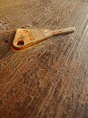 rusted key on beam