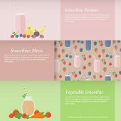 Set Of Banners With Fruit And Vegetable Smoothies