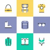 Clothes And Bags Pictogram Icons Set