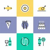 Serving Food Pictogram Icons Set