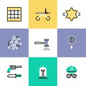 Police And Crime Pictogram Icons Set