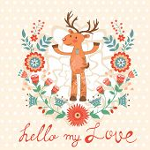 Hello my love card with deer