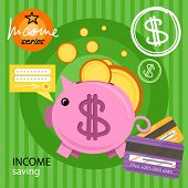Piggy bank with coins income series