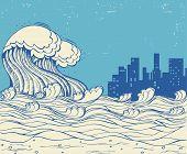 Big Waves Poster Illustration On Old Paper Texture